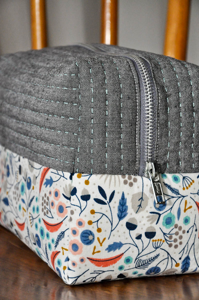 Boxy cosmetic bag sewing pattern