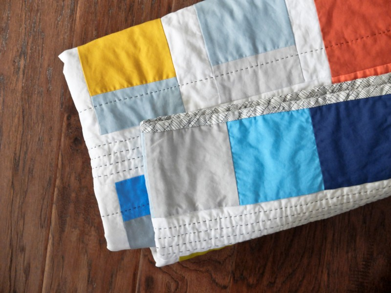 Solid color block quilt in bright colors